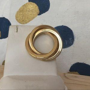 (2/$10) VINTAGE 80s Gold Tone Circular Brooch Pin